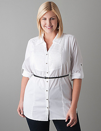 Plus Size Belted Tuxedo Shirt by Lane Bryant