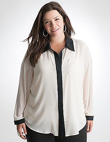 Plus Size Contrast Trim Blouse by Lane Bryant