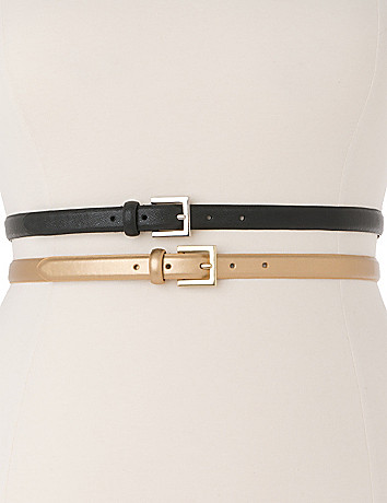 Metallic & black skinny belt duo by Lane Bryant