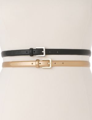 Metallic & black skinny belt duo