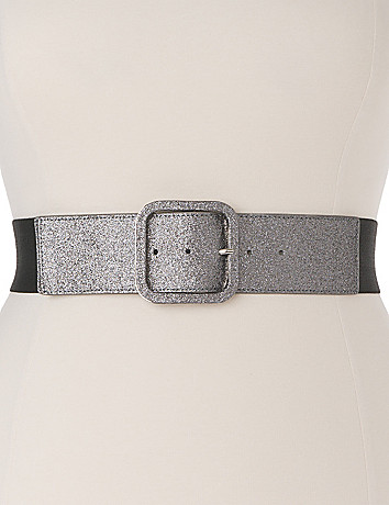 Plus Size Glitter Stretch Belt by Lane Bryant