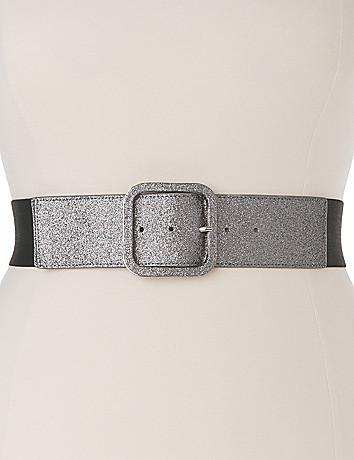 Plus Size Glitter Stretch Belt by Lane Bryant