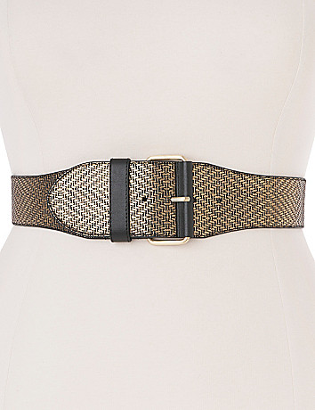 Metallic basket weave stretch belt