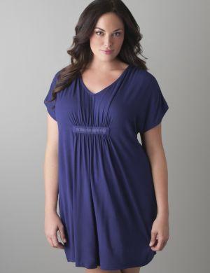 Embellished short sleeve sleep shirt