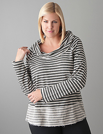 Full Figure Striped Cowl Sweatshirt by Lane Bryant