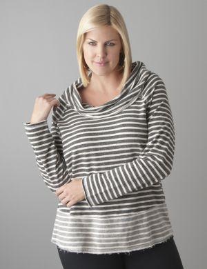 Striped cowl sweatshirt