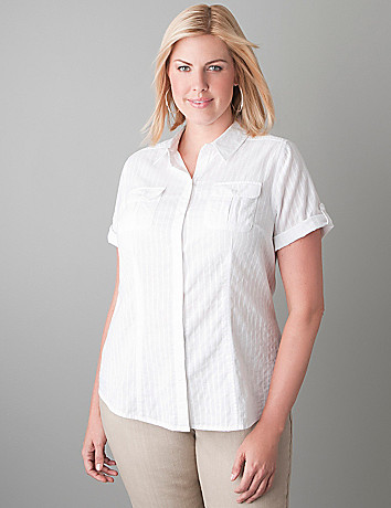 Short sleeve striped shirt by Lane Bryant