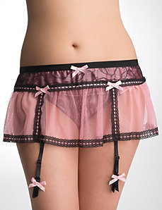 Pink satin & lace garter skirt by Cacique