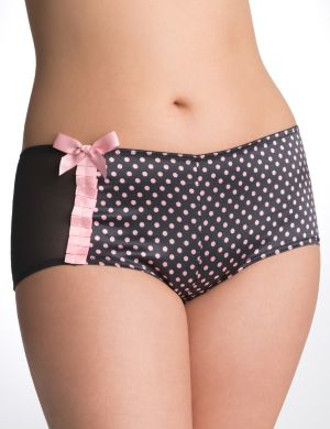 Ribbon trim polka dot boyshort panty