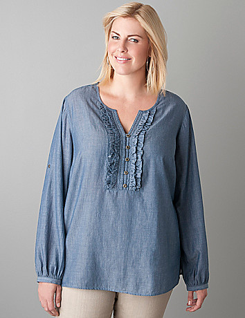 Ruffled chambray shirt by Lane Bryant