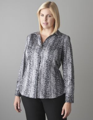Snake print cotton sateen shirt