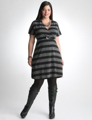 Striped short sleeve sweater dress