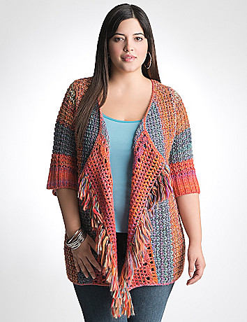 Plus Size Fringe Cardigan by Lane Bryant
