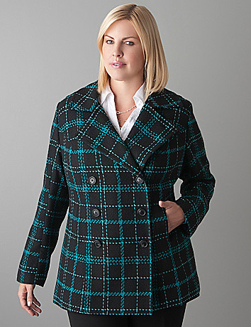 Plus Size Plaid Peacoat by Lane Bryant