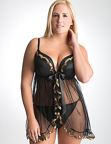 Full Figure Sequin Babydoll and Panty by Cacique