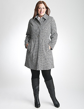 Houndstooth Babydoll Coat by Lane Bryant
