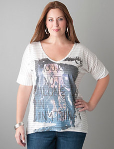 Sparkle stripe graphic tee by Lane Bryant