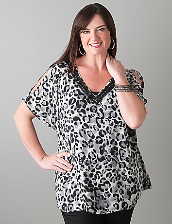Embellished leopard blouse by Lane Bryant