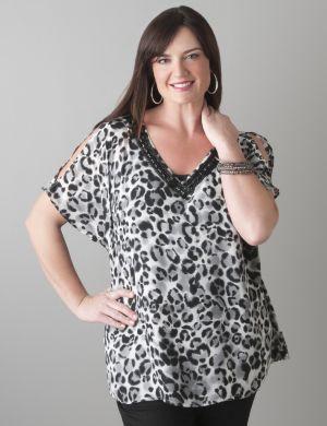 Embellished leopard blouse