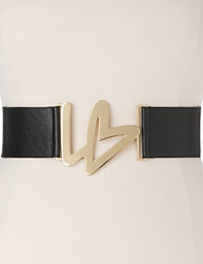 Plus Size Stretch Belt with Icon Buckle