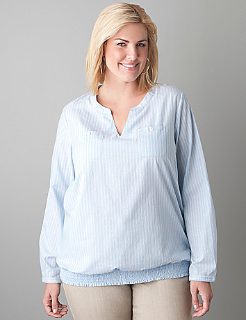 Smocked hem chambray shirt by Lane Bryant