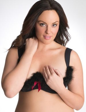 Feather trim quarter cup bra