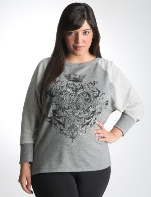 Graphic sweatshirt with high low hem