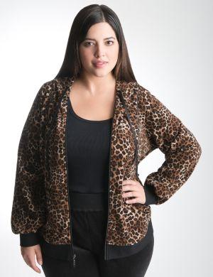 Animal print velour hoodie