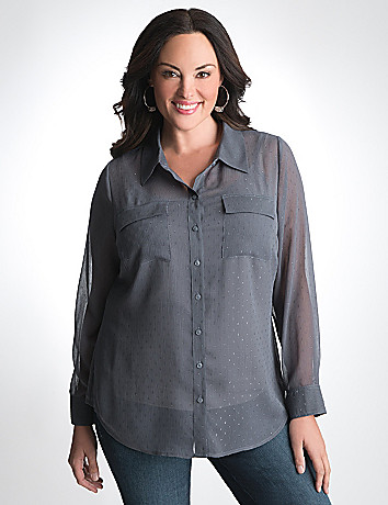 Plus Size Button Front Shirt by Lane Bryant