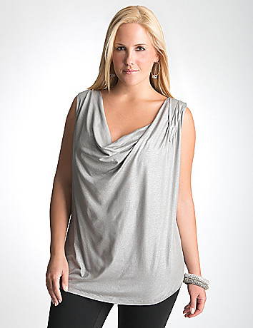 Shimmering drape neck shell by Lane Bryant
