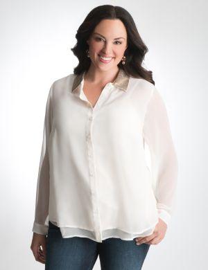 Sequin collar sheer blouse