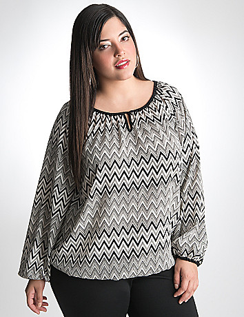 Plus Size Chevron Peasant Top by Lane Bryant