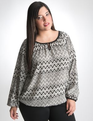 Chevron peasant top