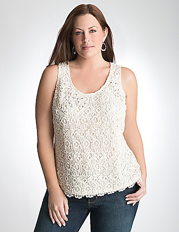 Embellished lace tank