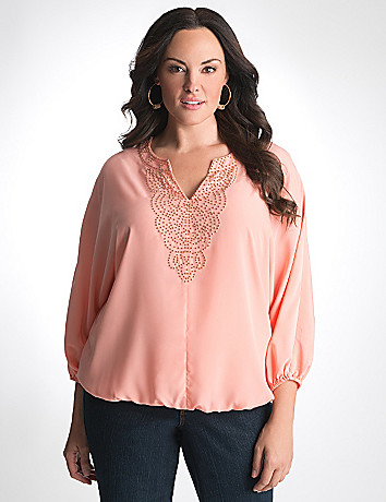 Plus Size Beaded Peasant Shirt by Lane Bryant