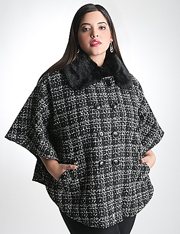 Fur Collared Plaid Cape by Lane Bryant