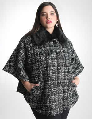 Plaid cape with optional faux fur collar