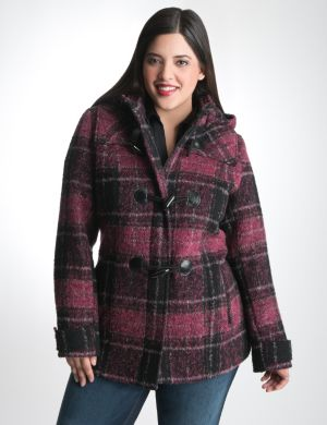 Plaid toggle coat