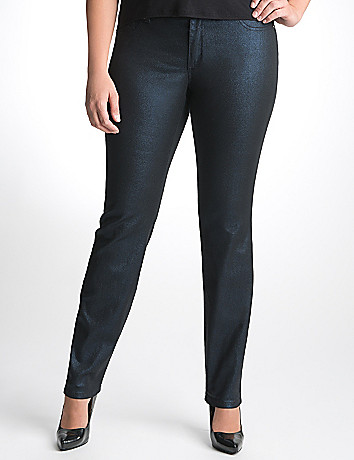 Full Figure Metallic Denim Jegging by Seven7