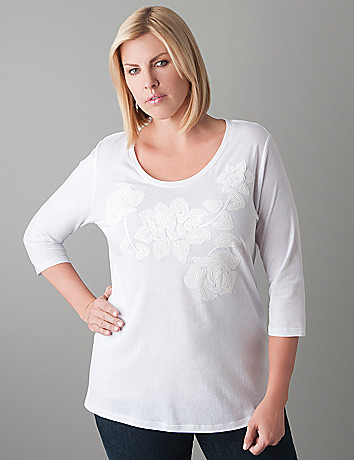 Plus Size Sequin Rose Tee by Seven7