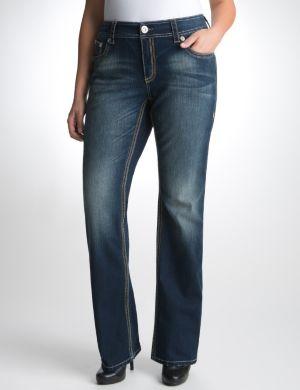 Slim boot jean with faux leather trim by Seven7