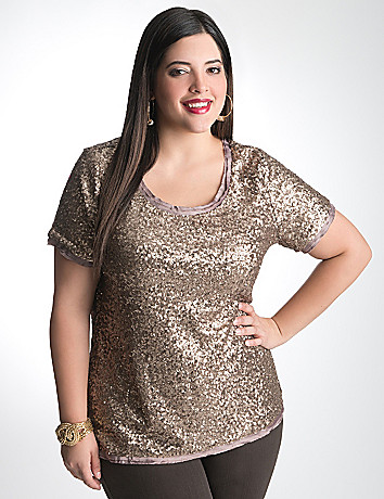 Full Figure Sequin Tee by Lane Bryant