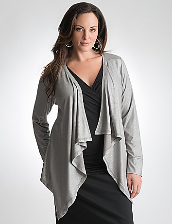 Plus Size Metallic Knit Cardigan by Lane Bryant
