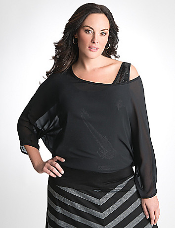 Sequin banded bottom dolman top by Seven7
