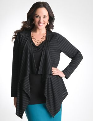 Shimmer stripe draped knit overpiece
