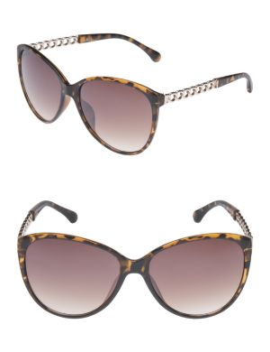 Animal print sunglasses with chain accents