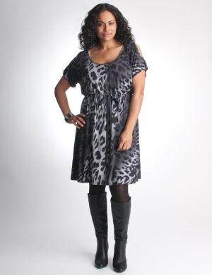 Cold shoulder leopard dress