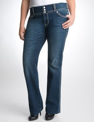 Triple button slim boot jean by Seven7