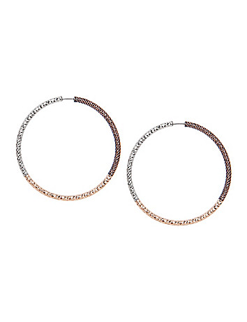 Tri-tone hoop earrings by Lane Bryant
