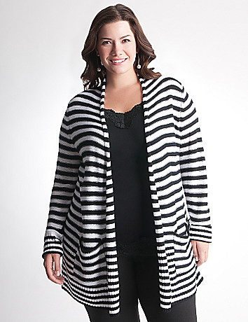 Full Figure Mixed stripe open cardigan
